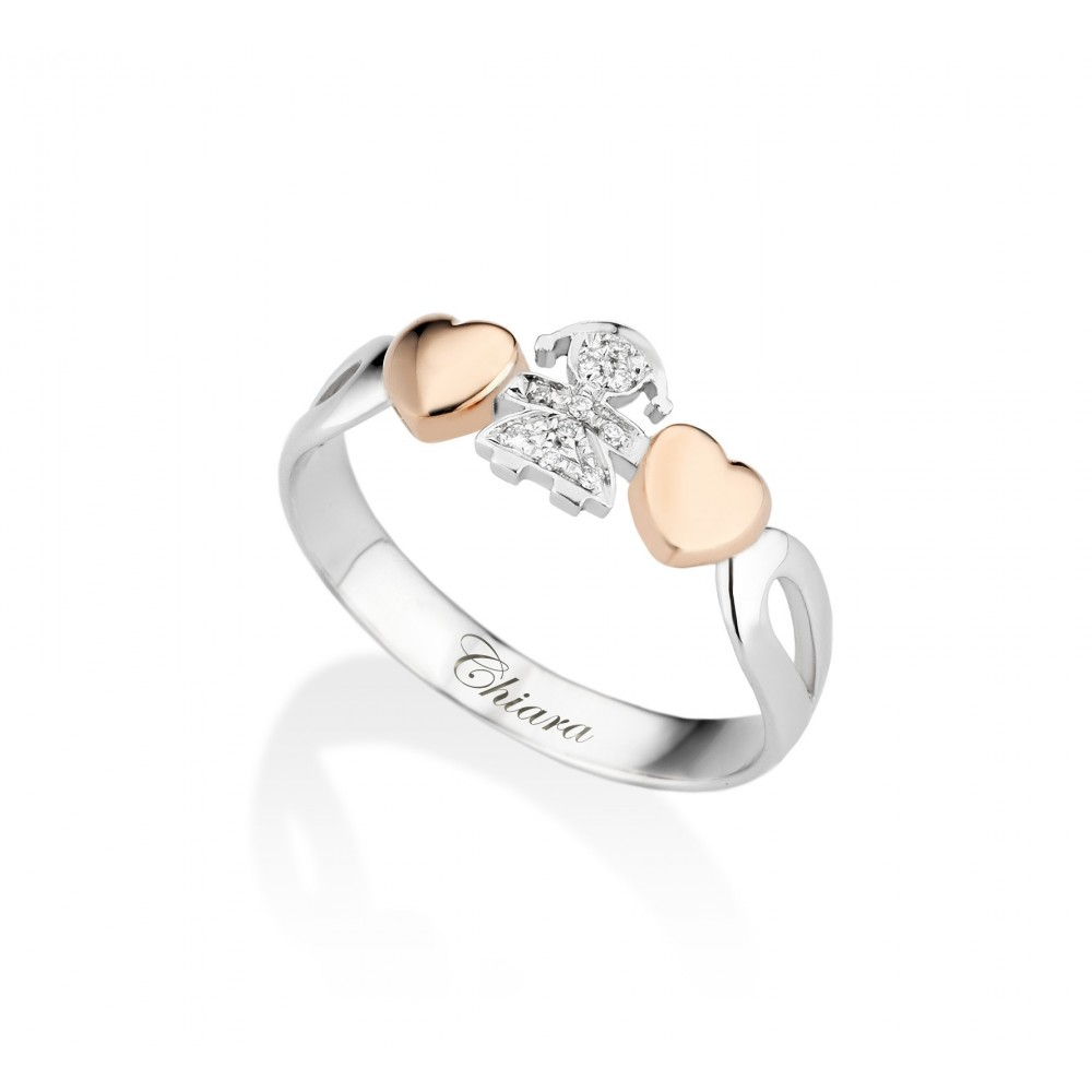 nuovo concetto ceced 0042e Anello oro bianco con cuori oro rosa, femminuccia e pavè di diamanti -  Gioielli Campisi