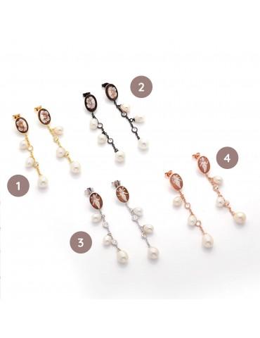 orecchini argento, perle e...