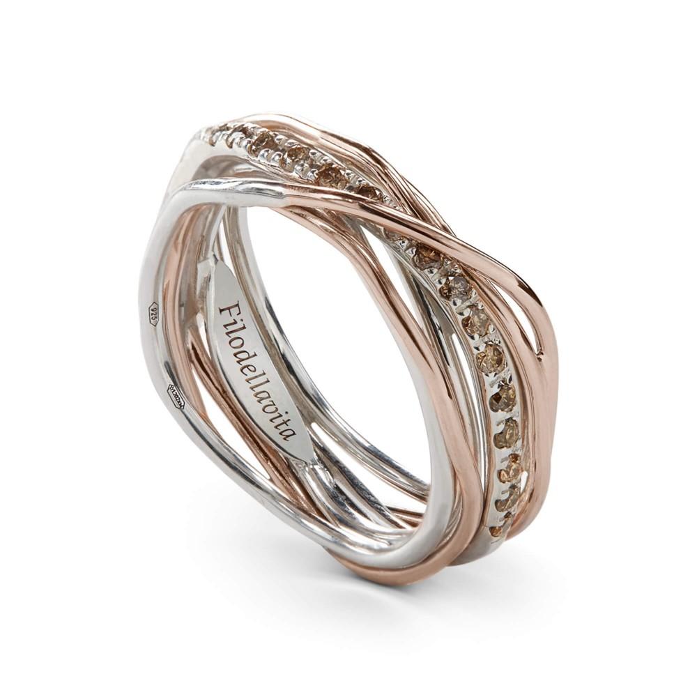 più amato 5d750 715ad Anello Filodellavita 7 fili oro, argento e Diiamanti Brown - Gioielli  Campisi